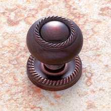 "JVJ 34512 Old World Bronze 1 1/4"" Rope Door Knob With Back Plate"