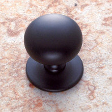 "JVJ 34414 Matte Black Finish 1 1/4"" Plymouth Door Knob With Back Plate"