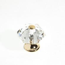 "JVJ 34224 24 K Gold Plated 30 mm (1 3/16"") 6 Sided 31% Leaded Crystal Door Knob"