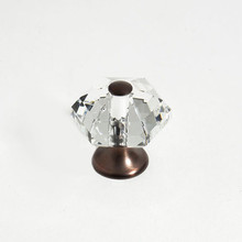 "JVJ 34212 Old World Bronze 30 mm (1 3/16"") 6 Sided 31% Leaded Crystal Door Knob"
