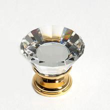 "JVJ 33924 24 K Gold Plated 30 mm (1 3/16"") Flat Top 31% Leaded Crystal Door Knob"