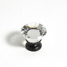 "JVJ 33920 Oil Rubbed Bronze 30 mm (1 3/16"") Flat Top 31% Leaded Crystal Door Knob"
