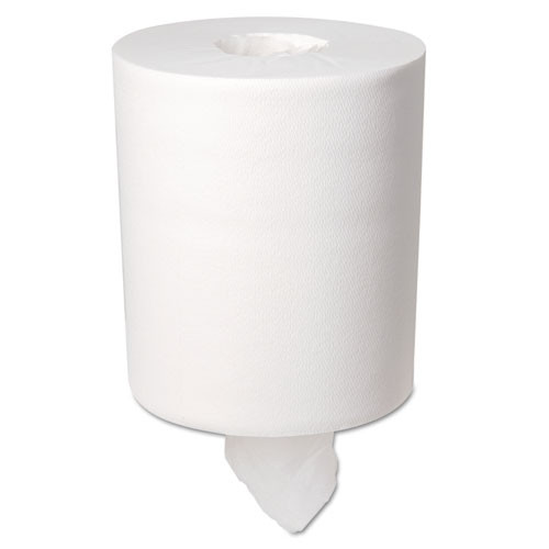 Boardwalk BWK6415 centerpull paper hand towels coreless roll white 2 ply 8x12 roll size 660 sheets per roll case of 6 rolls