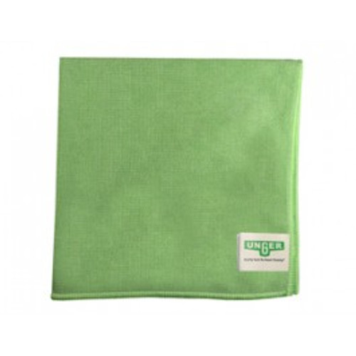 Unger MF400 green microfiber cloths MicroWipe 4000 heavy duty 16x15 launderable for dusting, polishing, scrubbing pack of 10 cloths GW