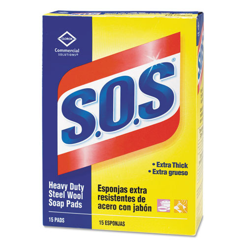 Sos steel wool soap pads extra thick heavy duty 15 pads per box case of 12 boxes case of 180 pads sos clo88320ct