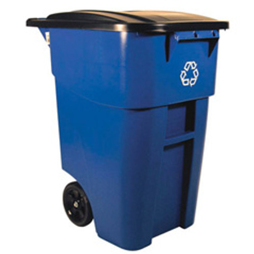 Rubbermaid 9w2773blu Brute 50 gallon recycling rollout blue