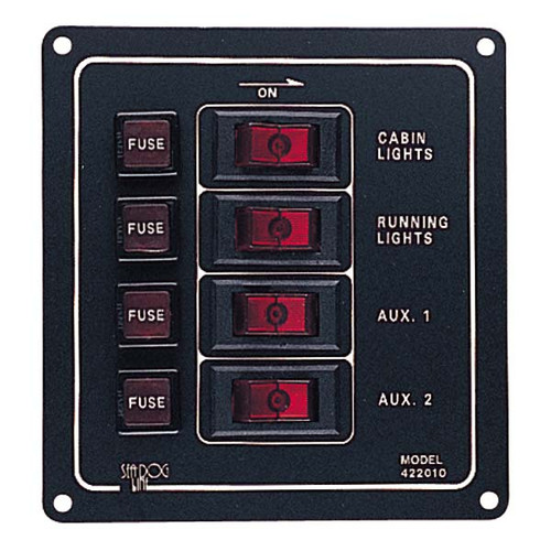 Sea Dog Aluminum Vertical 4 Gang Switch Panel