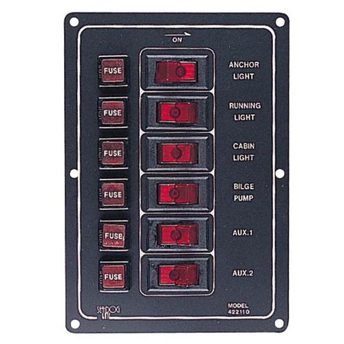 Sea Dog Aluminum Vertical 6 Gang Switch Panel