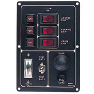 Sea Dog Battery Test Switch Panel with Gauge and Horn Button