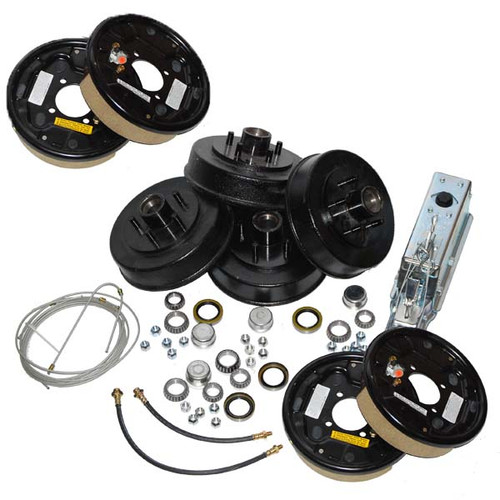 Complete Tandem AxleTrailer Brake Kit Free Backing