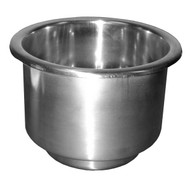 Stainless Steel Recessed Cup Holder with Drain