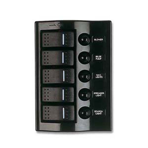 Sea Dog Five Wave Rocker Switch/Breaker Panel