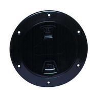 "Beckson Smooth 4"" Screw-Out Marine Deck Plate - Black/Black Lid"