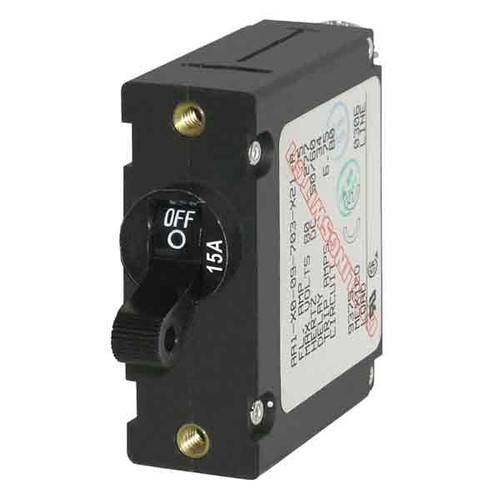 Blue Sea Systems A-Series Black Toggle Circuit Breaker - Single Pole 15A