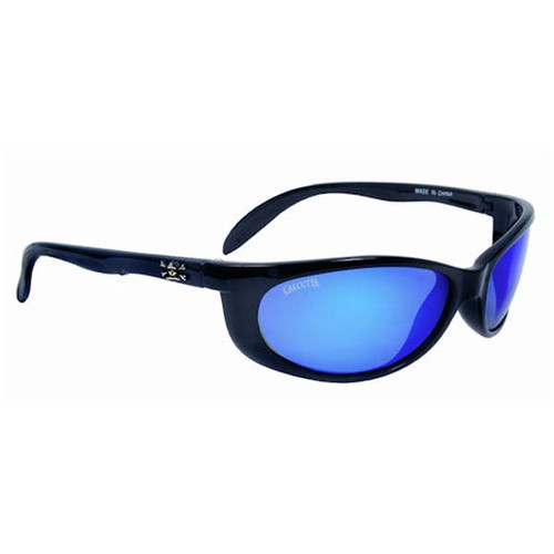 Calcutta  Smoker Sunglasses - Black Frame W/ Blue Mirror Lens