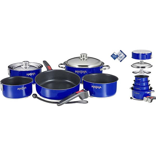 Magma 10 pc. Stainless Induction Cookware w/ Teflon Non-Stick - Blue