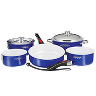 Magma 10 pc. Stainless Induction Cookware w/ White Ceramica - Blue