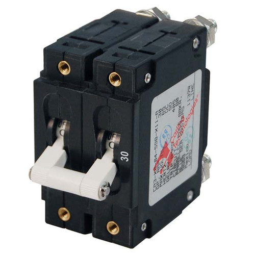 Blue Sea C-Series White Toggle Circuit Breaker - Double Pole
