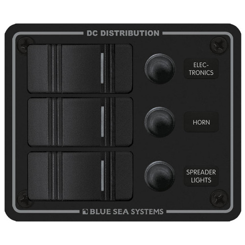 Blue Sea Water Resistant Circuit Breaker Panel - 3 Position