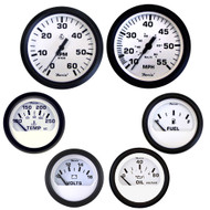 Faria Euro 6 Inboard Motor Gauge Boxed Set, White