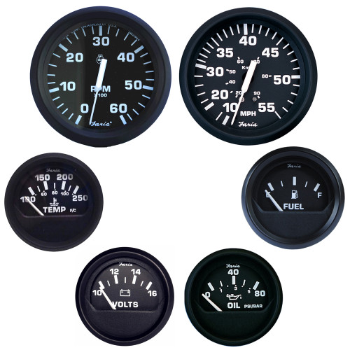 Faria Euro 6 Inboard Motor Gauge Boxed Set, Black