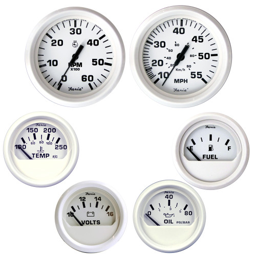 Faria Dress 6 Inboard Motor Gauge Boxed Set, White