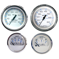 Faria Chesapeake SS 4 Outboard Motor Gauge Set, White