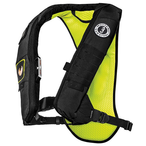 Mustang Survival Elite 28K Kayak Inflatable PFD - Black/Yellow Green