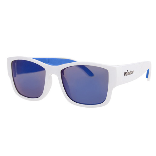 Bomber Gomer Bomb Gloss White Frame with Blue Mirror Lens