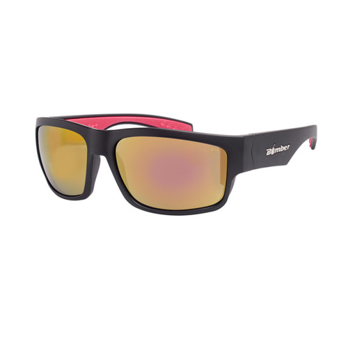 Bomber Tiger Bombs Matte Black Frame Red Mirror Lens