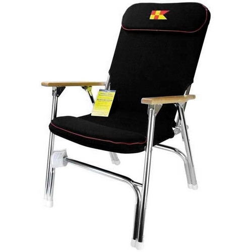 Garelick Padded Folding Deck Chair Black