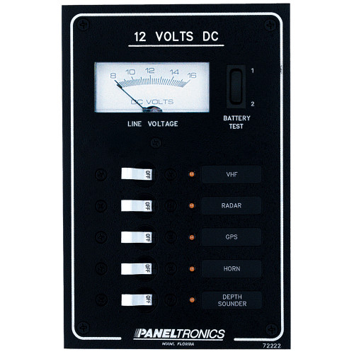 Paneltronics Standard DC 5 Position Breaker Panel & Meter w\/LEDs