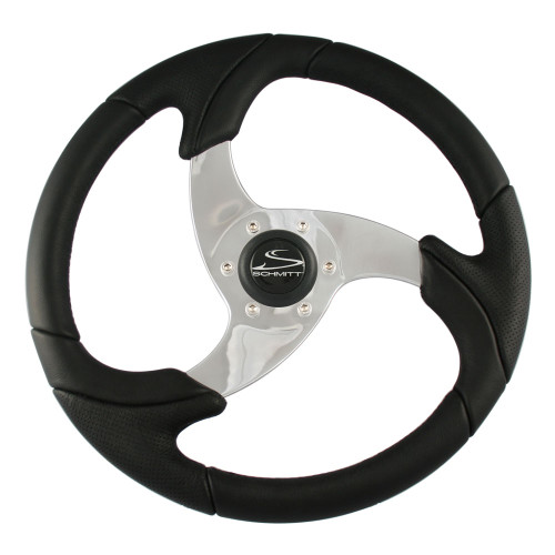 """Ongaro Folletto 14.2"""" Black Poly Steering Wheel w\/ Polished Spokes and Black Cap - Fits 3\/4"""" Tapered Shaft Helm"""