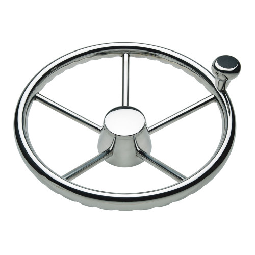 "Ongaro 170 13.5"" Stainless 5-Spoke Destroyer Wheel w\/ Stainless Cap and FingerGrip Rim - Fits 3\/4"" Tapered Shaft Helm"