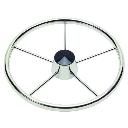"Ongaro 170 13.5"" Stainless 5-Spoke Destroyer Wheel w\/ Black Cap and Standard Rim - Fits 3\/4"" Tapered Shaft Helm"