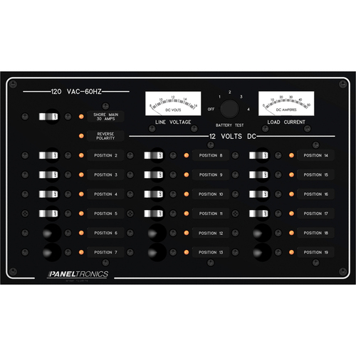 Paneltronics Standard Panel - AC\/DC 19 Position Circuit Breaker w\/Meters & LEDs