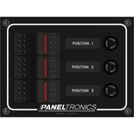 Paneltronics Waterproof Panel - DC 3-Position Illuminated Rocker Switch & Fuse
