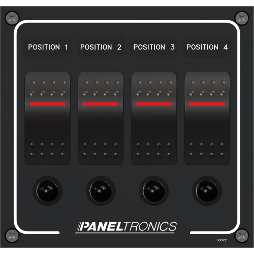 Paneltronics Waterproof Panel - DC 4-Position Illuminated Rocker Switch & Circuit Breaker