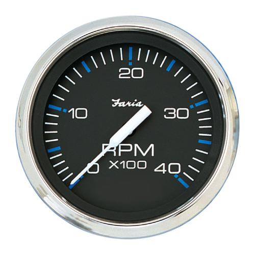 "Faria Chesapeake Black SS 4"" Tachometer - 4,000 RPM (Diesel - Mechanical Takeoff & Var Ratio Alt)"