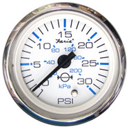 "Faria Chesapeake White SS 2"" Water Pressure Gauge Kit - 30 PSI"