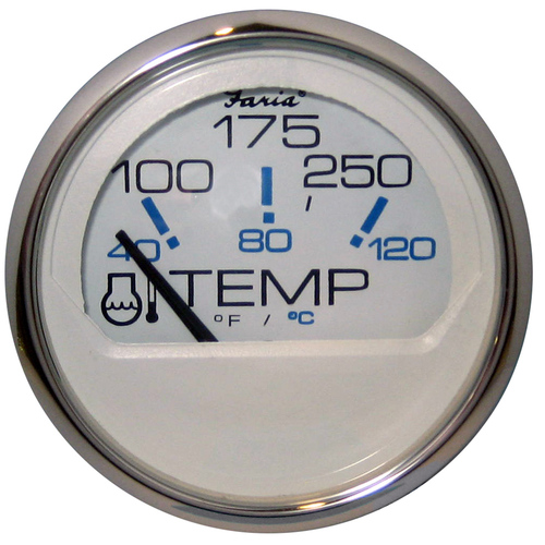 "Faria Chesapeake White SS 2"" Water Temperature Gauge (100-250 DegreeF)"