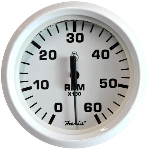"Faria Dress White 4"" Tachometer - 6,000 RPM (Gas - Inboard & I\/O)"