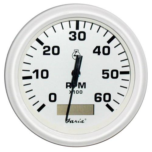 "Faria Dress White 4"" Tachometer w\/Hourmeter - 6,000 RPM (Gas - Inboard)"