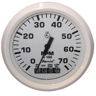 "Faria Dress White 4"" Tachometer w\/Systemcheck Indicator - 7,000 RPM (Gas - Johnson \/ Evinrude Outboard)"