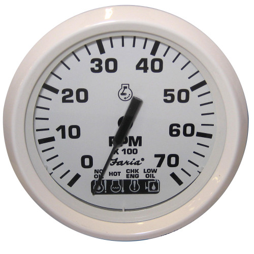 "Faria Dress White 4"" Tachometer w\/Systemcheck Indicator - 7,000 RPM (Gas - Johnson \/ Evinrude Outboard)"