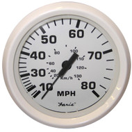 "Faria Dress White 4"" Speedometer - 80MPH (Mechanical)"
