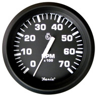 "Faria Euro Black 4"" Tachometer - 7,000 RPM (Gas - All Outboard)"