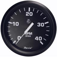 "Faria Euro Black 4"" Tachometer - 4,000 RPM (Diesel - Magnetic Pick-Up)"