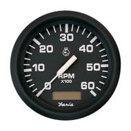 "Faria Euro Black 4"" Tachometer w\/Hourmeter - 6,000 RPM (Gas - Inboard)"