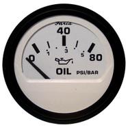 """Faria Euro White 2"""" Oil Pressure Gauge - 80PSI"""
